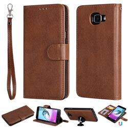 Retro Greek Detachable Magnetic PU Leather Wallet Phone Case for Samsung Galaxy A5 2016 A510 - Brown