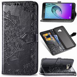 Embossing Imprint Mandala Flower Leather Wallet Case for Samsung Galaxy A5 2016 A510 - Black