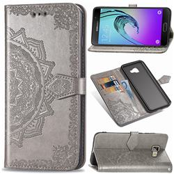 Embossing Imprint Mandala Flower Leather Wallet Case for Samsung Galaxy A5 2016 A510 - Gray