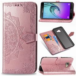 Embossing Imprint Mandala Flower Leather Wallet Case for Samsung Galaxy A5 2016 A510 - Rose Gold