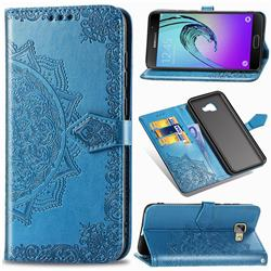 Embossing Imprint Mandala Flower Leather Wallet Case for Samsung Galaxy A5 2016 A510 - Blue