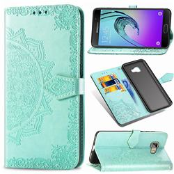 Embossing Imprint Mandala Flower Leather Wallet Case for Samsung Galaxy A5 2016 A510 - Green