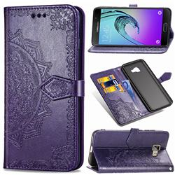 Embossing Imprint Mandala Flower Leather Wallet Case for Samsung Galaxy A5 2016 A510 - Purple