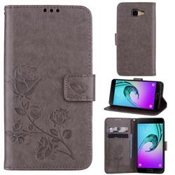 Embossing Rose Flower Leather Wallet Case for Samsung Galaxy A5 2016 A510 - Grey