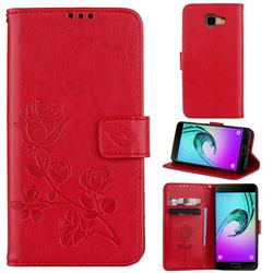 Embossing Rose Flower Leather Wallet Case for Samsung Galaxy A5 2016 A510 - Red