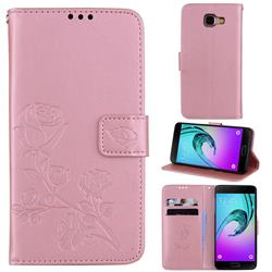 Embossing Rose Flower Leather Wallet Case for Samsung Galaxy A5 2016 A510 - Rose Gold
