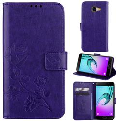 Embossing Rose Flower Leather Wallet Case for Samsung Galaxy A5 2016 A510 - Purple