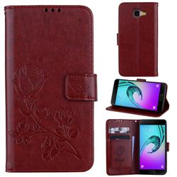 Embossing Rose Flower Leather Wallet Case for Samsung Galaxy A5 2016 A510 - Brown