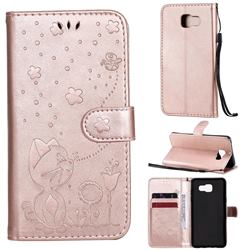 Embossing Bee and Cat Leather Wallet Case for Samsung Galaxy A5 2016 A510 - Rose Gold
