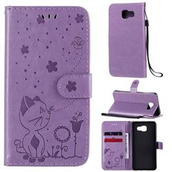 Embossing Bee and Cat Leather Wallet Case for Samsung Galaxy A5 2016 A510 - Purple