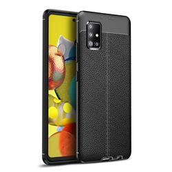 Luxury Auto Focus Litchi Texture Silicone TPU Back Cover for Samsung Galaxy A51 5G - Black