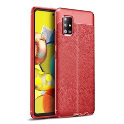 Luxury Auto Focus Litchi Texture Silicone TPU Back Cover for Samsung Galaxy A51 5G - Red
