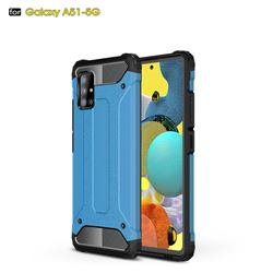 King Kong Armor Premium Shockproof Dual Layer Rugged Hard Cover for Samsung Galaxy A51 5G - Sky Blue