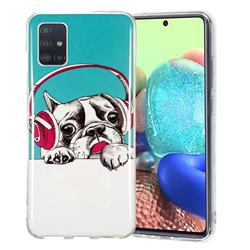Headphone Puppy Noctilucent Soft TPU Back Cover for Samsung Galaxy A51 5G
