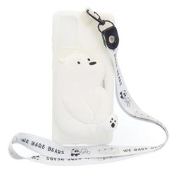 White Polar Bear Neck Lanyard Zipper Wallet Silicone Case for Samsung Galaxy A51 5G