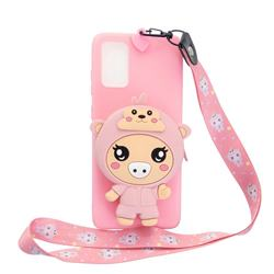 Pink Pig Neck Lanyard Zipper Wallet Silicone Case for Samsung Galaxy A51 5G