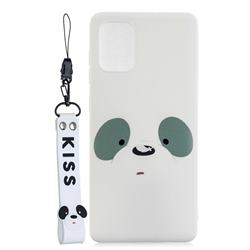 White Feather Panda Soft Kiss Candy Hand Strap Silicone Case for Samsung Galaxy A51 5G