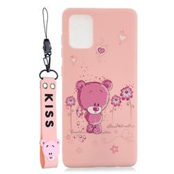Pink Flower Bear Soft Kiss Candy Hand Strap Silicone Case for Samsung Galaxy A51 5G