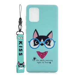 Green Glasses Dog Soft Kiss Candy Hand Strap Silicone Case for Samsung Galaxy A51 5G