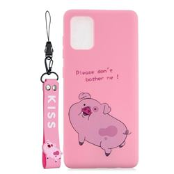 Pink Cute Pig Soft Kiss Candy Hand Strap Silicone Case for Samsung Galaxy A51 5G