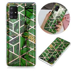 Green Rhombus Galvanized Rose Gold Marble Phone Back Cover for Samsung Galaxy A51 5G