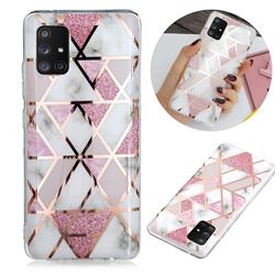 Pink Rhombus Galvanized Rose Gold Marble Phone Back Cover for Samsung Galaxy A51 5G