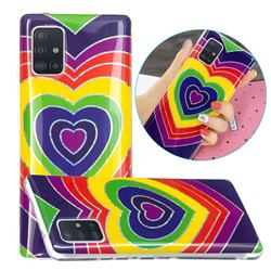 Rainbow Heart Painted Galvanized Electroplating Soft Phone Case Cover for Samsung Galaxy A51 5G
