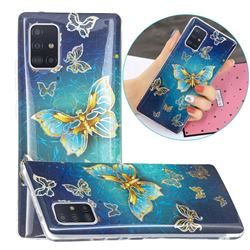 Golden Butterfly Painted Galvanized Electroplating Soft Phone Case Cover for Samsung Galaxy A51 5G