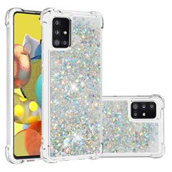 Dynamic Liquid Glitter Sand Quicksand Star TPU Case for Samsung Galaxy A51 5G - Silver