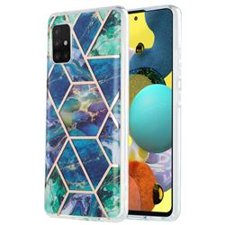 Blue Green Marble Pattern Galvanized Electroplating Protective Case Cover for Samsung Galaxy A51 5G