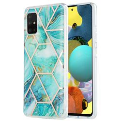 Blue Sea Marble Pattern Galvanized Electroplating Protective Case Cover for Samsung Galaxy A51 5G