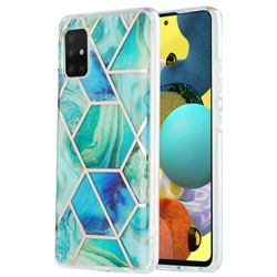 Green Glacier Marble Pattern Galvanized Electroplating Protective Case Cover for Samsung Galaxy A51 5G