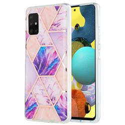 Purple Dream Marble Pattern Galvanized Electroplating Protective Case Cover for Samsung Galaxy A51 5G