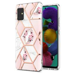 Pink Flower Marble Electroplating Protective Case Cover for Samsung Galaxy A51 5G