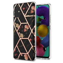 Black Rose Flower Marble Electroplating Protective Case Cover for Samsung Galaxy A51 5G