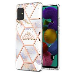 Crown Purple Flower Marble Electroplating Protective Case Cover for Samsung Galaxy A51 5G