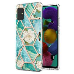 Blue Chrysanthemum Marble Electroplating Protective Case Cover for Samsung Galaxy A51 5G
