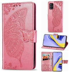 Embossing Mandala Flower Butterfly Leather Wallet Case for Samsung Galaxy A51 5G - Pink