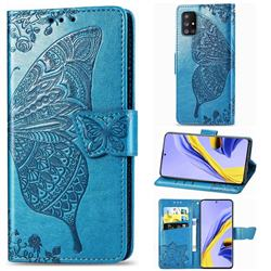Embossing Mandala Flower Butterfly Leather Wallet Case for Samsung Galaxy A51 5G - Blue