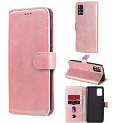 Retro Calf Matte Leather Wallet Phone Case for Samsung Galaxy A51 5G - Pink