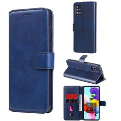 Retro Calf Matte Leather Wallet Phone Case for Samsung Galaxy A51 5G - Blue