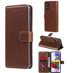 Retro Calf Matte Leather Wallet Phone Case for Samsung Galaxy A51 5G - Brown