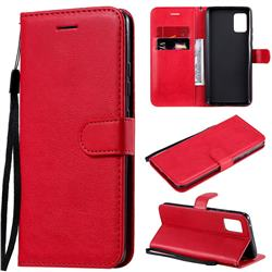 Retro Greek Classic Smooth PU Leather Wallet Phone Case for Samsung Galaxy A51 5G - Red
