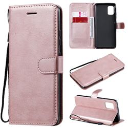 Retro Greek Classic Smooth PU Leather Wallet Phone Case for Samsung Galaxy A51 5G - Rose Gold