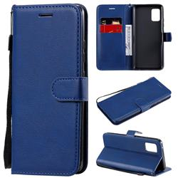 Retro Greek Classic Smooth PU Leather Wallet Phone Case for Samsung Galaxy A51 5G - Blue
