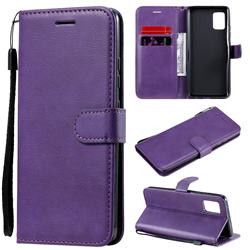 Retro Greek Classic Smooth PU Leather Wallet Phone Case for Samsung Galaxy A51 5G - Purple