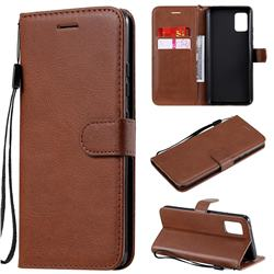 Retro Greek Classic Smooth PU Leather Wallet Phone Case for Samsung Galaxy A51 5G - Brown
