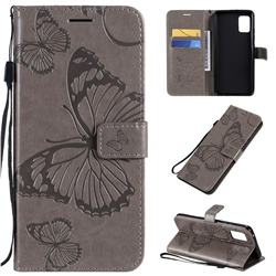 Embossing 3D Butterfly Leather Wallet Case for Samsung Galaxy A51 5G - Gray