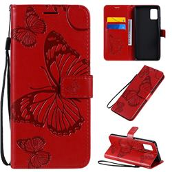 Embossing 3D Butterfly Leather Wallet Case for Samsung Galaxy A51 5G - Red
