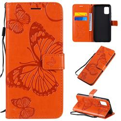 Embossing 3D Butterfly Leather Wallet Case for Samsung Galaxy A51 5G - Orange